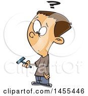 Clipart Of A Cartoon White Boy Holding A Razor And Preparing To Shave For The First Time Royalty Free Vector Illustration