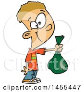 Clipart Of A Cartoon White Boy Holding Out A Bag Royalty Free Vector Illustration