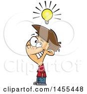 Poster, Art Print Of Cartoon Smart White Boy Under A Light Bulb
