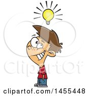 Clipart Of A Cartoon Smart White Boy Under A Light Bulb Royalty Free Vector Illustration
