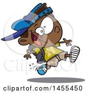Poster, Art Print Of Cartoon Energetic Black School Boy Running