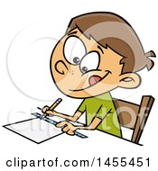 Clipart Of A Cartoon White School Boy Measuring With A Ruler Royalty Free Vector Illustration