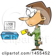 Clipart Of A Cartoon White Business Woman Putting A Note In A Suggestions Box Royalty Free Vector Illustration