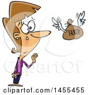 Poster, Art Print Of Cartoon White Business Woman Crying And Saying Farewell To Her Money Being Sent Off For Taxes