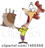 Poster, Art Print Of Cartoon White Lady Swallowing An Entire Birthday Cake