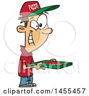 Clipart Of A Cartoon Happy White Pizza Delivery Guy Holding A Box Royalty Free Vector Illustration
