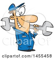 Clipart Of A Cartoon Happy White Car Mechanic Guy Holding A Giant Wrench Royalty Free Vector Illustration
