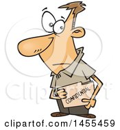 Cartoon White Business Man Carrying A Confidential File Folder