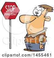 Clipart Of A Cartoon Man Looking At A Stop Dishes Done Sign Royalty Free Vector Illustration by toonaday