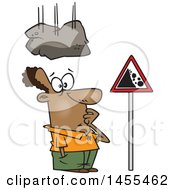 Clipart Of A Cartoon Boulder Falling On A Black Man Staring At A Sign Royalty Free Vector Illustration