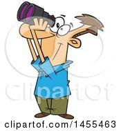 Cartoon Happy White Guy Looking Through Binoculars