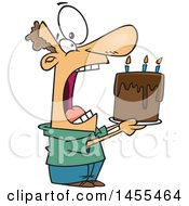 Clipart Of A Cartoon White Man Swallowing An Entire Birthday Cake Royalty Free Vector Illustration