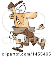 Clipart Of A Cartoon Happy White Male Courier Carrying A Parcel Royalty Free Vector Illustration