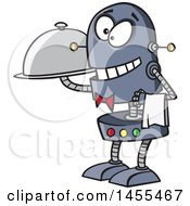 Clipart Of A Cartoon Waiter Robot Holding A Cloche Platter Royalty Free Vector Illustration