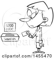 Clipart Of A Cartoon Lineart Business Woman Putting A Note In A Suggestions Box Royalty Free Vector Illustration