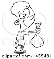 Cartoon Lineart Boy Holding Out A Bag