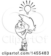 Clipart Of A Cartoon Lineart Smart Boy Under A Light Bulb Royalty Free Vector Illustration by toonaday
