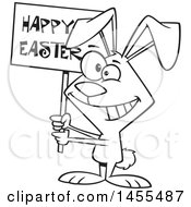 Clipart Of A Cartoon Lineart Bunny Holding A Happy Easter Sign Royalty Free Vector Illustration