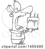 Poster, Art Print Of Cartoon Lineart Man Swallowing An Entire Birthday Cake