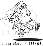 Cartoon Lineart Energetic School Boy Running