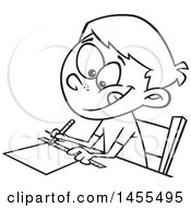 Cartoon Lineart School Boy Measuring With A Ruler