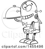 Cartoon Lineart Waiter Robot Holding A Cloche Platter