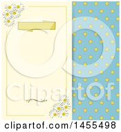 Clipart Of A Vintage Polka Dot And Daisy Flower Themed Background Royalty Free Vector Illustration