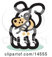 Silly Dog Biting His Own Tail Clipart Illustration