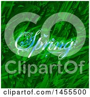 Background Of Green Grasses And Plants With Blue Spring Text