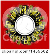 Round Frame With Silhouetted Hands And Music Speakers On Red