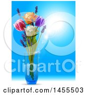 3d Glass Vase With Tulips Roses And Lavender Flowers Over A Sunny Blue Sky