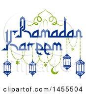 Poster, Art Print Of Blue And Green Ramadan Kareem Design With Lanterns And Text