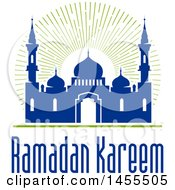 Clipart Of A Blue And Green Ramadan Kareem Design With A Mosque And Text Royalty Free Vector Illustration by Vector Tradition SM