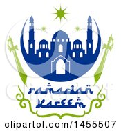 Clipart Of A Blue And Green Ramadan Kareem Design With A Mosque Swords And Text Royalty Free Vector Illustration