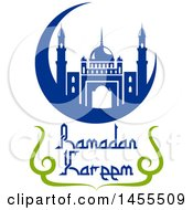 Poster, Art Print Of Blue And Green Ramadan Kareem Design With A Mosque And Text