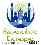 Clipart Of A Blue And Green Ramadan Kareem Design With A Mosque And Text Royalty Free Vector Illustration