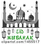 Clipart Of A Green And Dark Gray Eid Mubarak Design With A Mosque And Text Royalty Free Vector Illustration