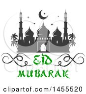 Green And Dark Gray Eid Mubarak Design With A Mosque And Text