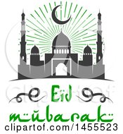 Poster, Art Print Of Green And Dark Gray Eid Mubarak Design With A Mosque And Text