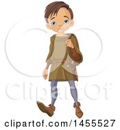 Clipart Of A Boy Walking With A Bag Arthur Royalty Free Vector Illustration