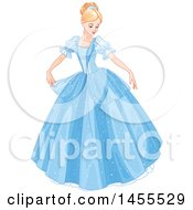 Clipart Of A Beautiful Princess Cinderella In A Blue Ball Gown Royalty Free Vector Illustration