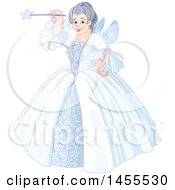 Clipart Of A Happy Fairy Godmother Holding A Magic Wand Royalty Free Vector Illustration by Pushkin