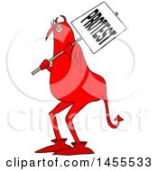 Clipart Of A Cartoon Chubby Red Devil Protestor Holding A Sign Royalty Free Vector Illustration