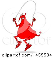Cartoon Chubby Red Devil Using A Jump Rope