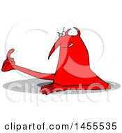 Clipart Of A Cartoon Chubby Red Devil Emerging From A Hole And Beckoning Royalty Free Vector Illustration