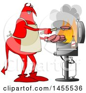 Cartoon Chubby Red Devil Grilling Aon A Bbq