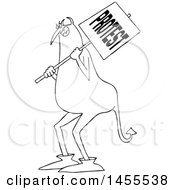 Clipart Of A Cartoon Black And White Chubby Devil Protestor Holding A Sign Royalty Free Vector Illustration by djart