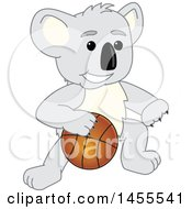 Poster, Art Print Of Koala Bear School Mascot Character Dribbling A Basketball