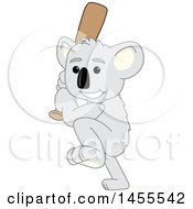 Poster, Art Print Of Koala Bear School Mascot Character Swinging A Baseball Bat