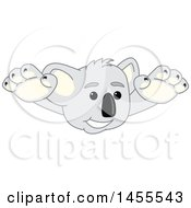 Koala Bear School Mascot Character Wrestler Leaping Or Swimmer Diving